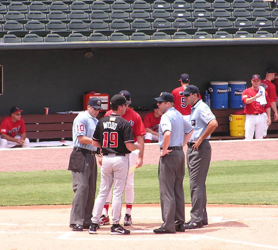 Exchanging the Line Up Cards - Autozone Park