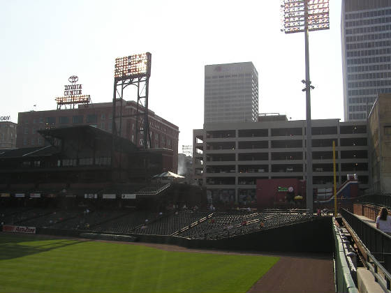 Looking at the city from CF, Autozone Park
